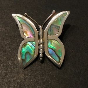 Jewelry - VTG Sterling Silver and Abalone Butterfly Brooch